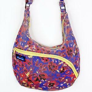 Kavu Floral Crossbody Distressed Handbag Purse Bag